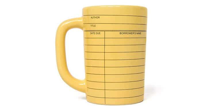 Library card coffee mug